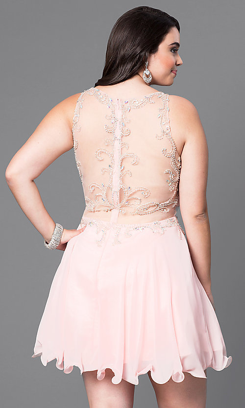 Image of mock two-piece short plus-size party dress with beads. Style: DQ-9550P Back Image