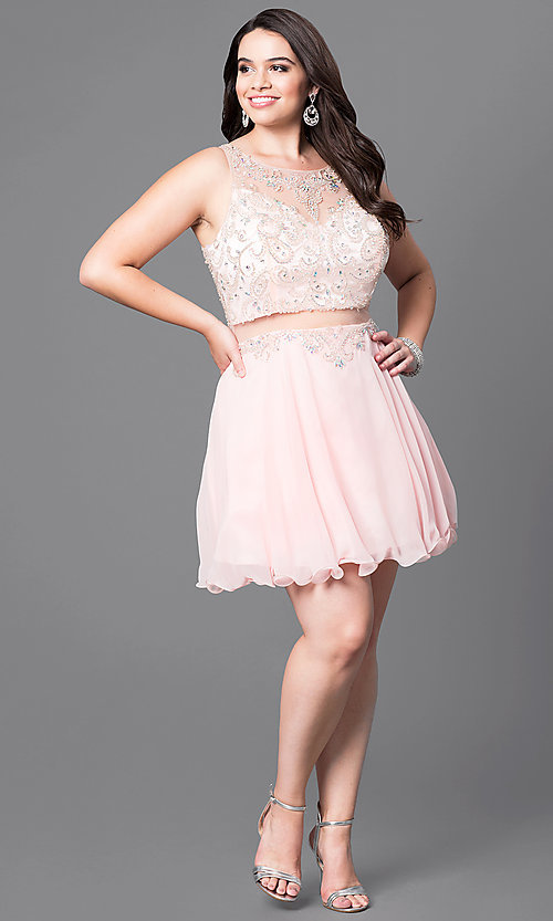Image of mock two-piece short plus-size party dress with beads. Style: DQ-9550P Detail Image 1