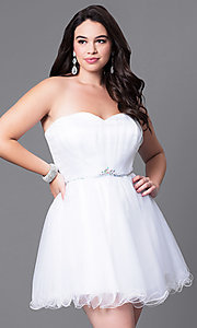 Image of short a-line plus-size party dress with corset back. Style: DQ-8781P Front Image