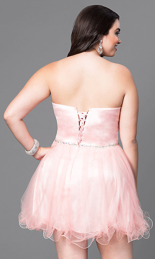 Image of short a-line plus-size party dress with corset back. Style: DQ-8781P Back Image