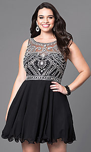 Image of plus-size short prom dress with jeweled bodice. Style: DQ-9523P Detail Image 2
