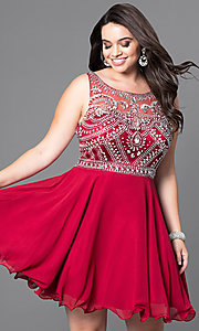Image of plus-size short prom dress with jeweled bodice. Style: DQ-9523P Front Image