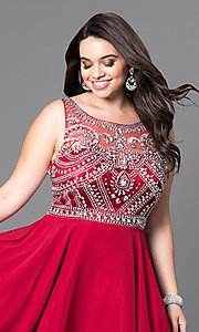 Image of plus-size short prom dress with jeweled bodice. Style: DQ-9523P Detail Image 1