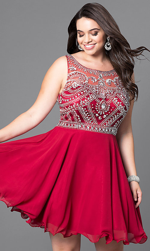 Plus-Size Short Prom Dress with Jeweled Bodice