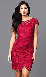 Image of lace short holiday party dress with cap sleeves. Style: DQ-9677 Detail Image 1