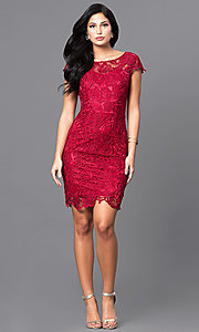 Image of lace short holiday party dress with cap sleeves. Style: DQ-9677 Detail Image 2