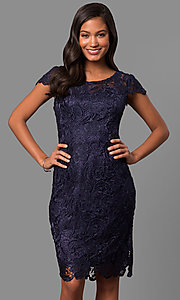 Image of lace short holiday party dress with cap sleeves. Style: DQ-9677 Front Image
