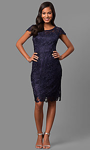 Image of lace short holiday party dress with cap sleeves. Style: DQ-9677 Detail Image 3