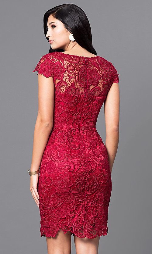Image of lace short holiday party dress with cap sleeves. Style: DQ-9677 Back Image