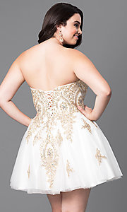 Image of short plus-size homecoming party dress with corset. Style: DQ-9484P Back Image