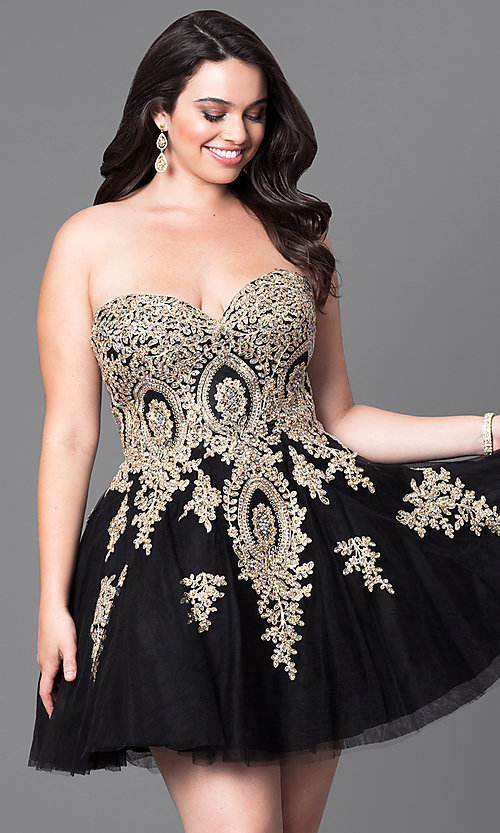 Image of short plus-size homecoming party dress with corset. Style: DQ-9484P Detail Image 1