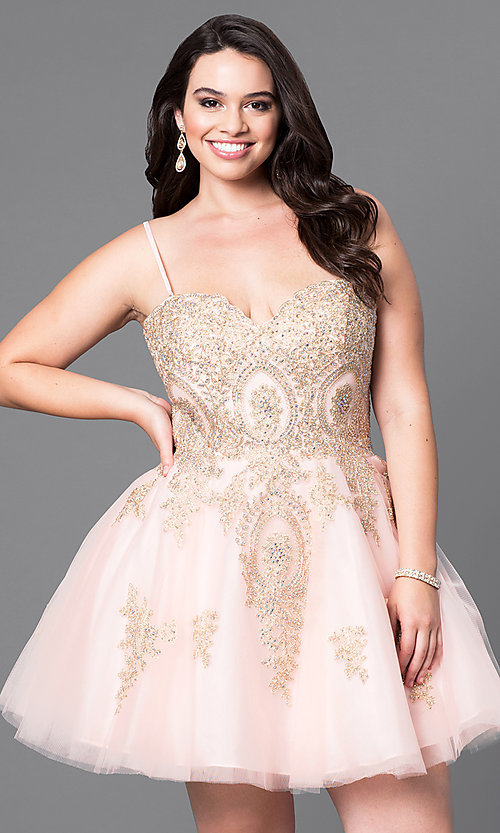 Image of short plus-size homecoming party dress with corset. Style: DQ-9484P Detail Image 3