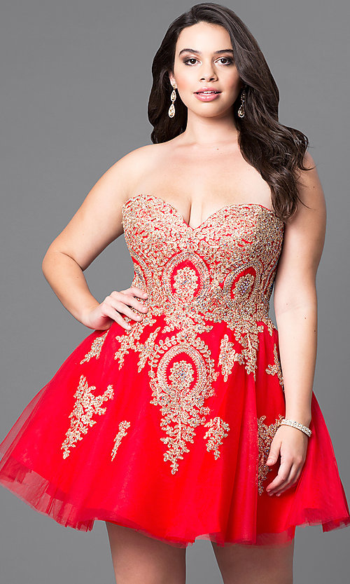 Image of short plus-size homecoming party dress with corset. Style: DQ-9484P Front Image
