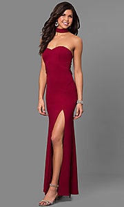 Image of merlot red long prom dress with choker collar. Style: MY-4470US1S Front Image