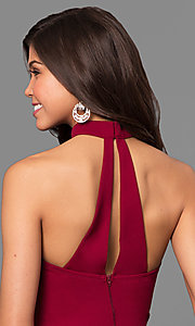 Image of merlot red long prom dress with choker collar. Style: MY-4470US1S Detail Image 2