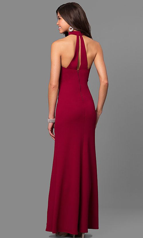 Image of merlot red long prom dress with choker collar. Style: MY-4470US1S Back Image
