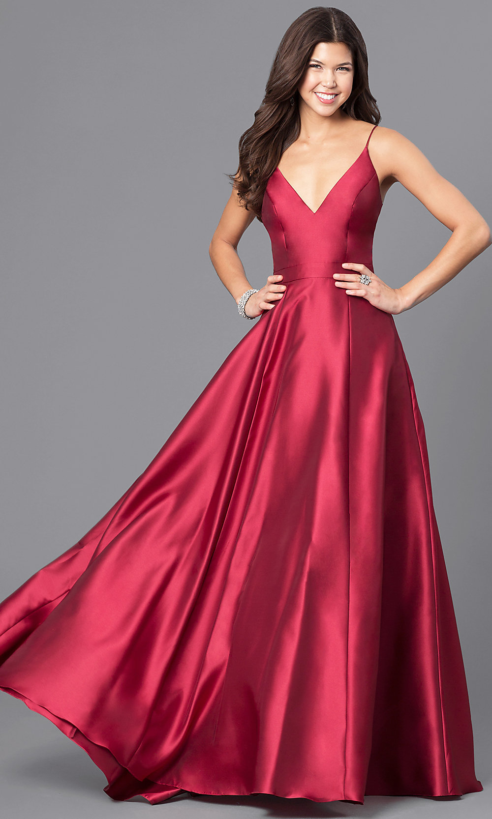 V Neck Wine Red Long Satin Prom Dress With Pockets