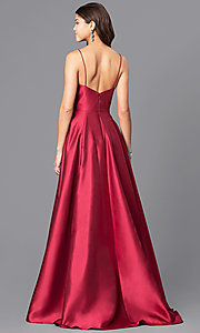 Image of wine red v-neck satin long prom dress with pockets. Style: JO-JVN-JVN51556 Back Image