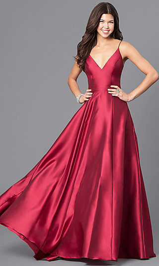 V-Neck Wine Red Long Satin Prom Dress with Pockets