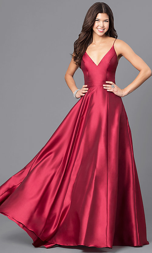 Image of wine red v-neck satin long prom dress with pockets. Style: JO-JVN-JVN51556 Front Image