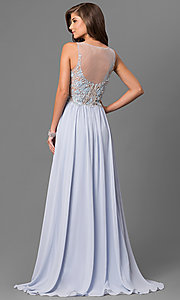 Image of long formal prom dress with beaded embroidery. Style: TI-1711P2373 Back Image