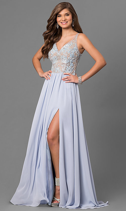 Image of long formal prom dress with beaded embroidery. Style: TI-1711P2373 Front Image