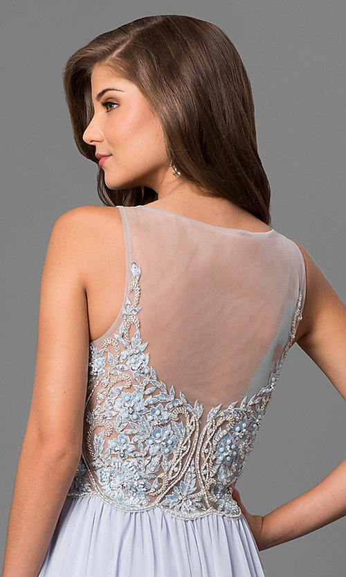 Image of long formal prom dress with beaded embroidery. Style: TI-1711P2373 Detail Image 2