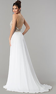 Image of sheer-back long formal prom dress with beaded bodice. Style: TI-1712P2512 Back Image
