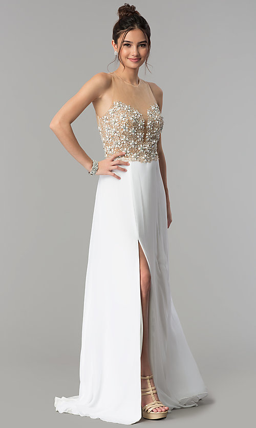 Image of sheer-back long formal prom dress with beaded bodice. Style: TI-1712P2512 Front Image