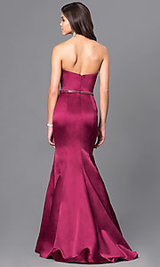 Image of long mermaid wine red prom dress with beaded belt. Style: BL-PG037 Back Image