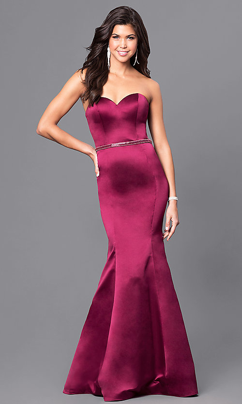 Image of long mermaid wine red prom dress with beaded belt. Style: BL-PG037 Front Image