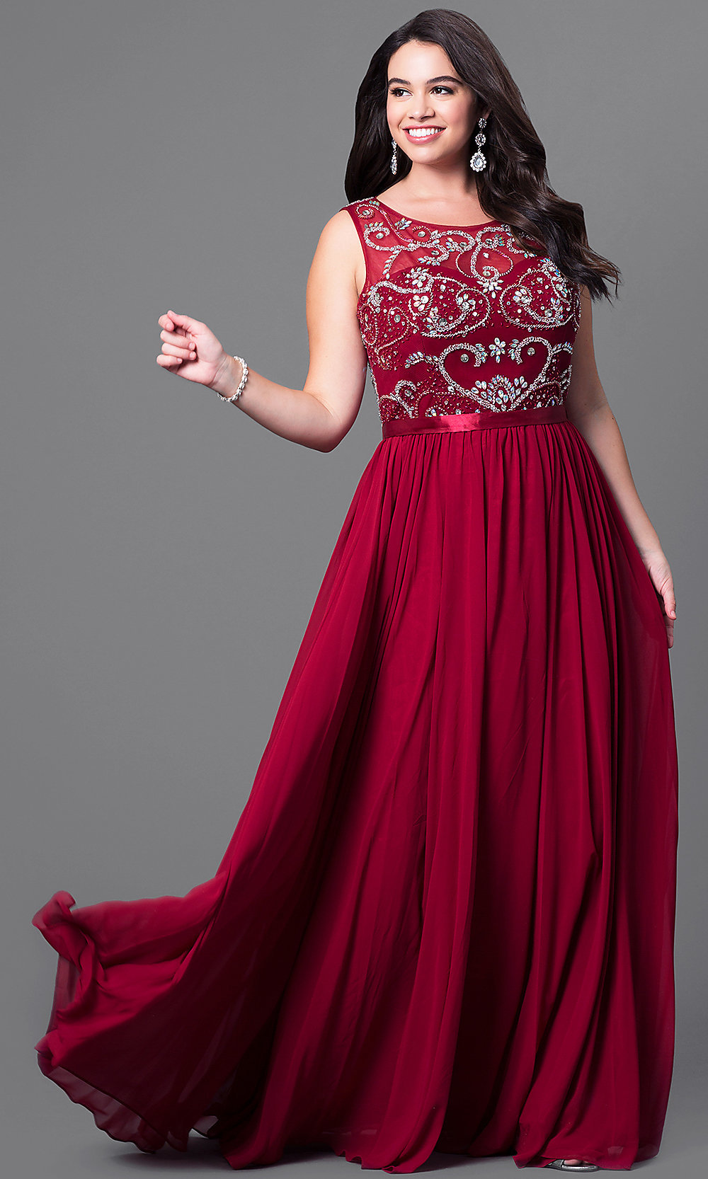 Long Plus-Size Formal Dress with Beaded Bodice