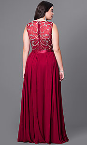Image of long plus-size formal dress with beaded bodice. Style: DQ-8736P Back Image