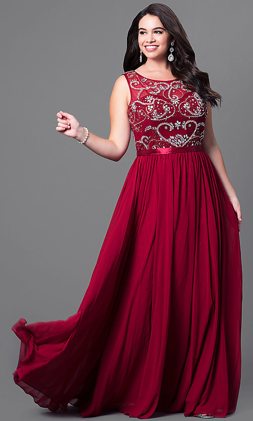 Image of long plus-size formal dress with beaded bodice. Style: DQ-8736P Front Image