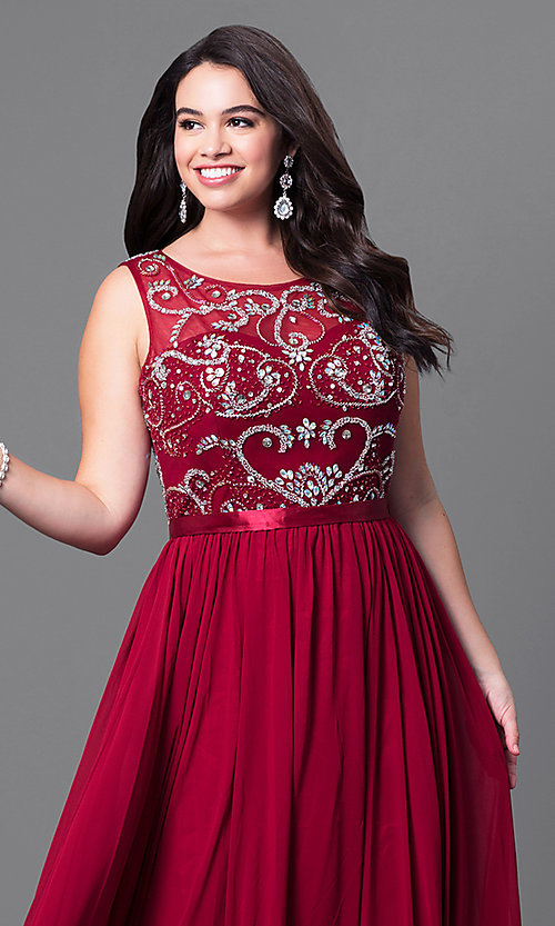 Image of long plus-size formal dress with beaded bodice. Style: DQ-8736P Detail Image 1