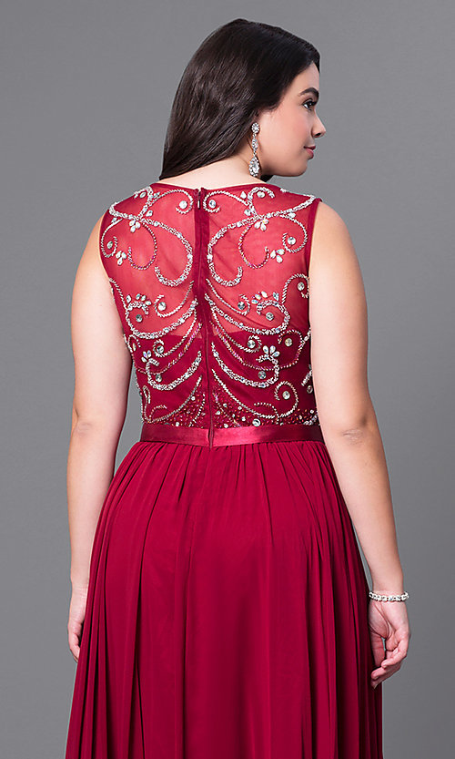 Image of long plus-size formal dress with beaded bodice. Style: DQ-8736P Detail Image 2