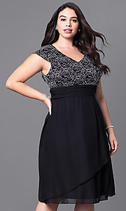 Image of plus-size knee-length lace-bodice party dress. Style: SF-8762P Detail Image 1