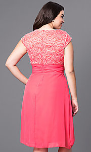 Image of plus-size knee-length lace-bodice party dress. Style: SF-8762P Back Image