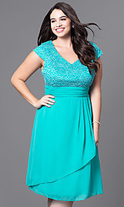 Image of plus-size knee-length lace-bodice party dress. Style: SF-8762P Detail Image 3