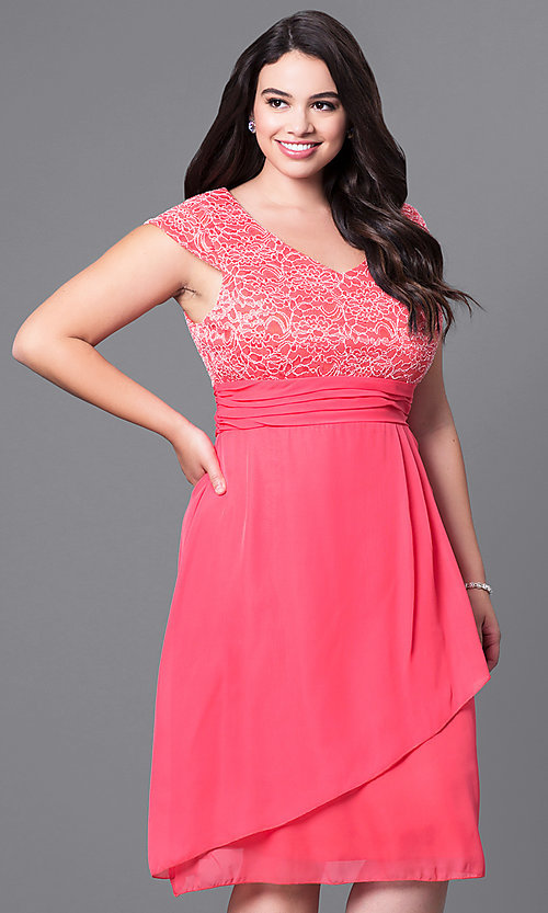 Plus Size Knee Length Party Dress With Lace Bodice