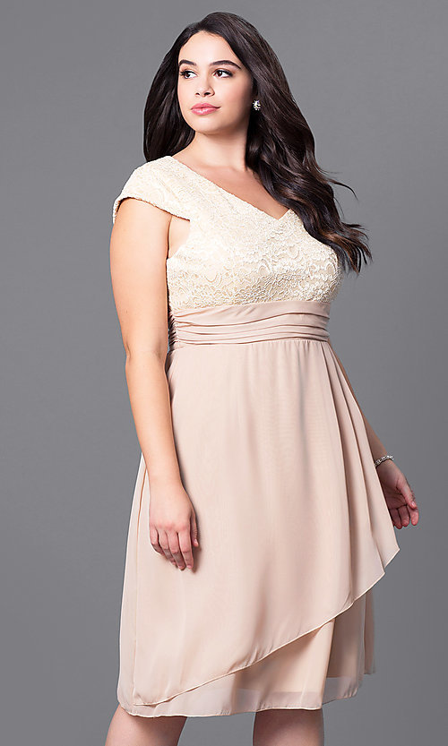Image of plus-size knee-length lace-bodice party dress. Style: SF-8762P Front Image