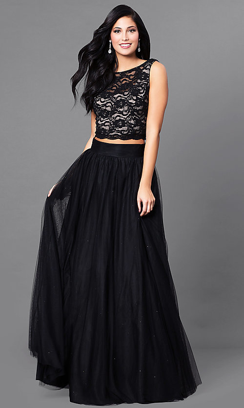 Long Black Two-Piece Prom Dress with Glitter Lace