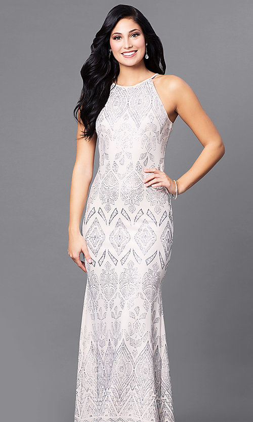 Image of Jump long formal glitter-print cream prom dress. Style: JU-49803 Front Image