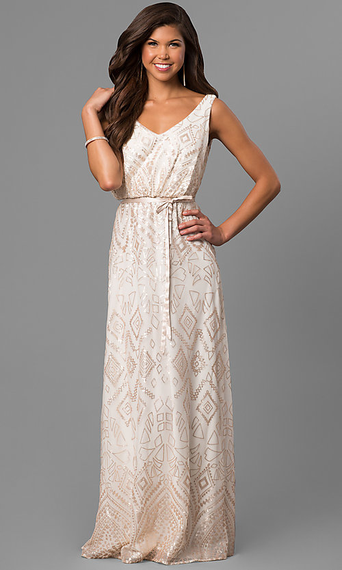 Image of v-neck long high-low prom dress with sequins. Style: JU-MA-263344 Front Image
