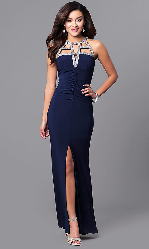 Image of glitter-neckline long formal dress with empire waist. Style: JU-MA-263415 Front Image