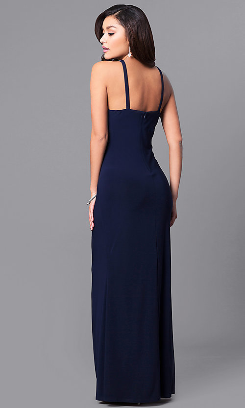 Image of glitter-neckline long formal dress with empire waist. Style: JU-MA-263415 Back Image