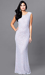 Image of long lace lilac purple prom dress with back cut out. Style: JU-ON-648890 Back Image