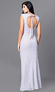 Image of long lace lilac purple prom dress with back cut out. Style: JU-ON-648890 Front Image