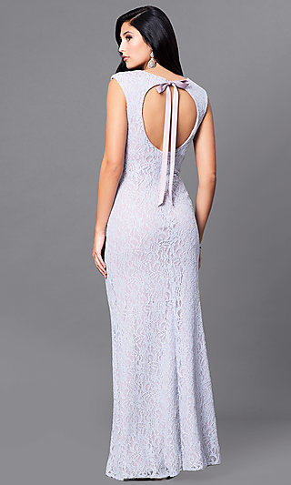 Long Lace Lilac Purple Prom Dress with Back Cut Out