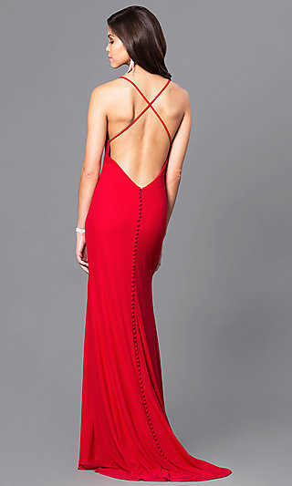 Valentine Red Long Prom Dress with Open Back